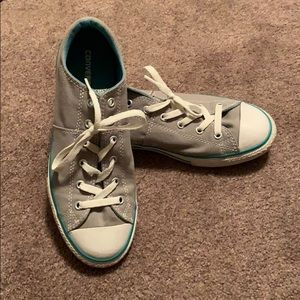 Gray, blue, and white converse all star shoes